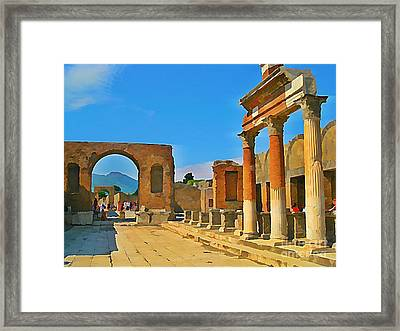 Landscape At Pompeii Italy Ruins Framed Print by John Malone