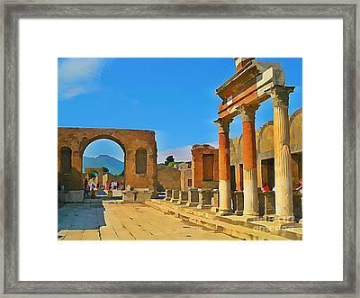 Landscape At Pompeii Italy Ruins Framed Print