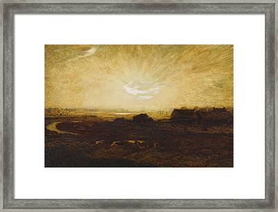 Landscape At Sunset Framed Print by Marie Auguste Emile Rene Menard