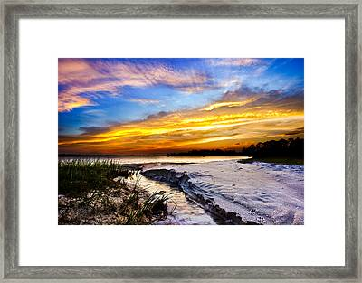Framed Print featuring the photograph Landscape Beach Sunset-golden Sun Rays-stream To The Sea by Eszra