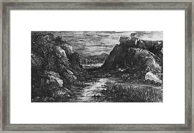 Landscape Behind The Defile Framed Print by Rodolphe Bresdin