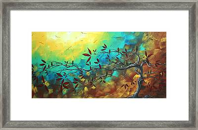 Landscape Bird Original Painting Family Time By Madart Framed Print by Megan Duncanson
