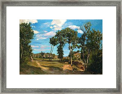 Landscape By The Lez River Framed Print by Jean Frederic Bazille
