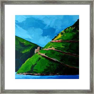 Landscape Castle Along The River Rhine Framed Print by Patricia Awapara