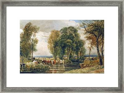 Landscape Cattle In A Stream With Sluice Gate Framed Print by Peter de Wint