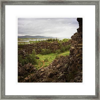 Landscape In Iceland Pingvellir Framed Print