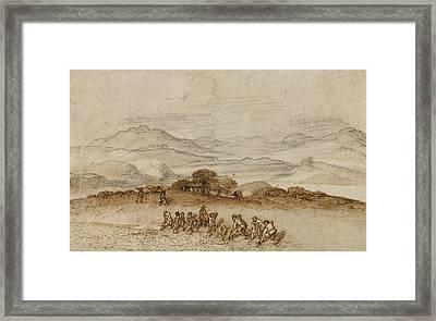 Landscape In Latium With Farm Laborers Claude Lorrain Framed Print