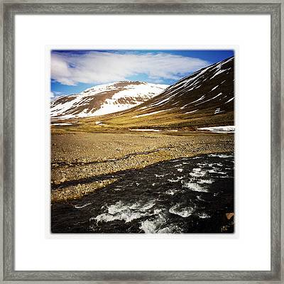 Landscape In North Iceland - River And Mountain Framed Print