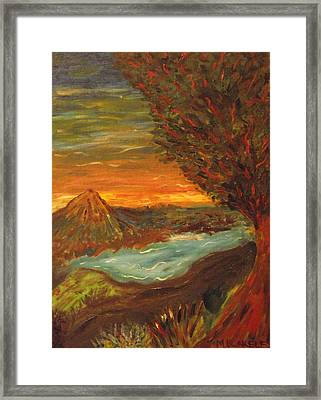 Framed Print featuring the painting Landscape In Portrait by Martin Blakeley