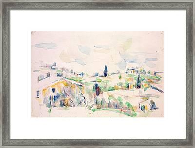 Landscape In Provence Framed Print by Paul Cezanne