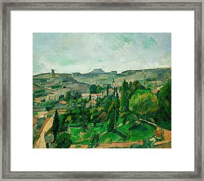 Landscape In The Ile-de-france Framed Print by Paul Cezanne