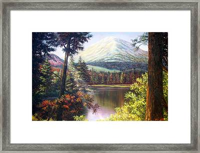 Framed Print featuring the painting Landscape-lake And Trees by Loxi Sibley
