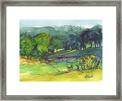 Landscape Lakeway Texas Watercolor Painting By Kmcelwaine Framed Print