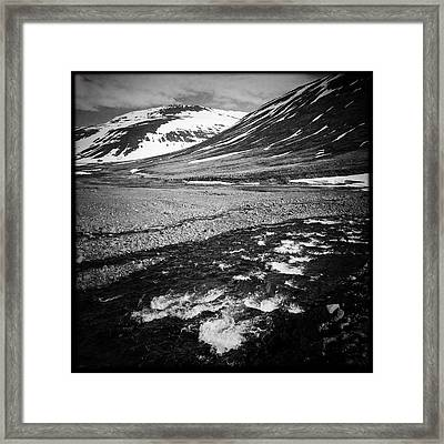 Landscape North Iceland Black And White Framed Print