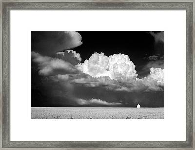 Landscape Of Dramatic Cloud And Lone White Barn  Framed Print