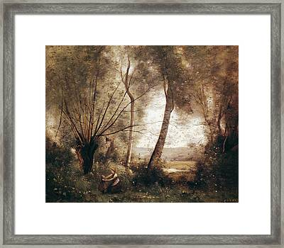 Landscape Oil On Canvas Framed Print by Jean Baptiste Camille Corot