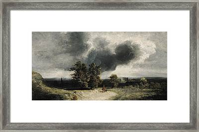 Landscape On The Outskirts Of Paris Framed Print by Georges Michel
