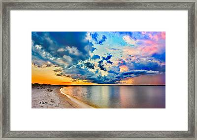 Landscape Panorama-blue Purple Pink Cloud Sunset Reflection Framed Print