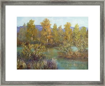Landscape River And Trees Paintings Framed Print