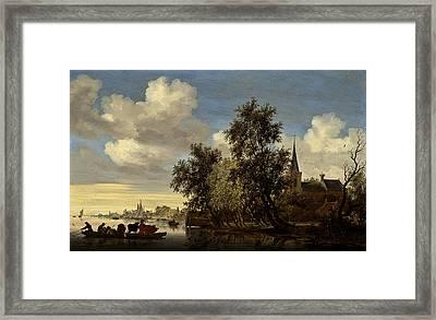 Framed Print featuring the digital art Landscape by Salomon van Ruysdael