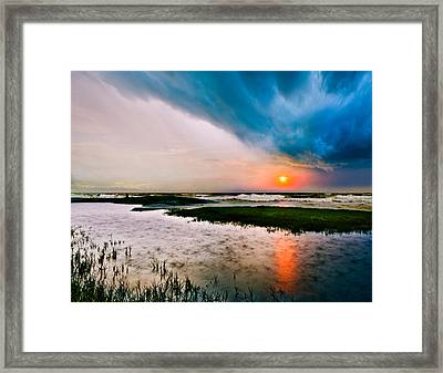 Framed Print featuring the photograph Landscape-storm At Sea Sunset-rain Ripples-blue Clouds by Eszra