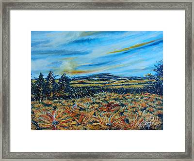 Landscape Sunflowers Field  Framed Print by Drinka Mercep
