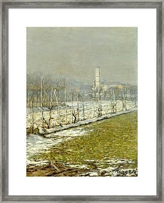 Landscape. Winter Sun Framed Print by Emilio Longoni