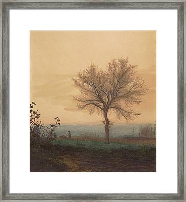 Landscape With A Bare Tree And A Plowman Léon Bonvin Framed Print by Litz Collection