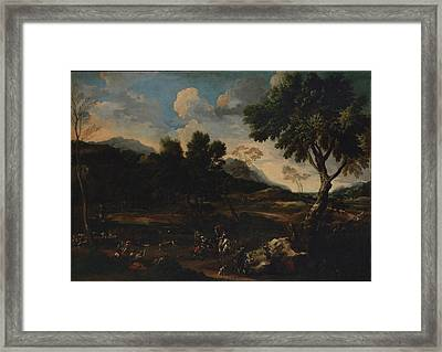 Landscape With A Battle Between Two Rams Framed Print by Jan Miel