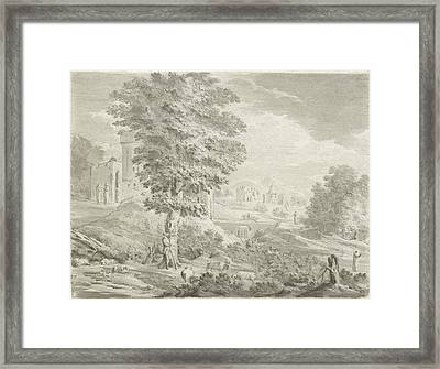Landscape With A City In The Background, A Shepherd Framed Print by Jurriaan Cootwijck