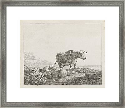Landscape With A Cow And Two Sheep, Christiaan Godfried Framed Print by Artokoloro