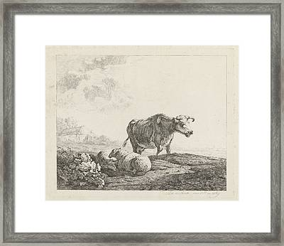 Landscape With A Cow And Two Sheep, Print Maker Christiaan Framed Print by Artokoloro