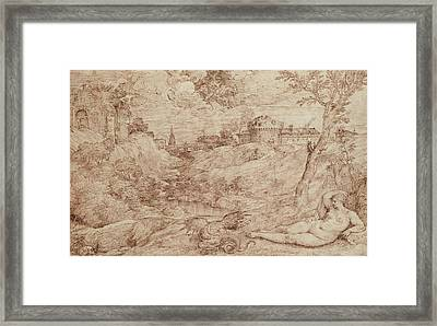 Landscape With A Dragon And A Nude Woman Sleeping Framed Print by Titian