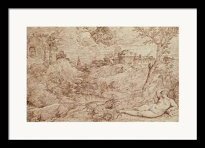 Fantasy Landscape With Figure Framed Prints