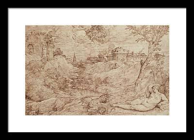 Fantasy Landscape With Figure Framed Prints