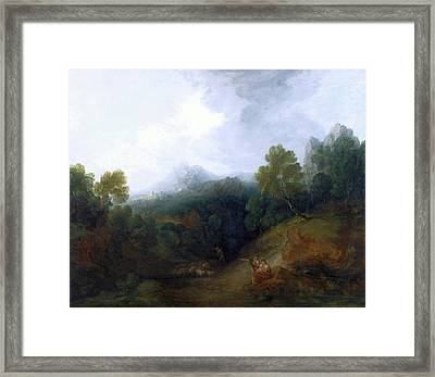 Landscape With A Flock Of Sheep Mountain Valley Framed Print by Litz Collection