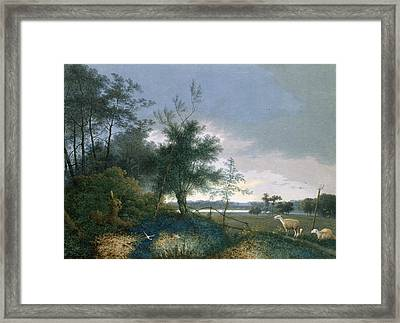 Landscape With A Fox Chasing Geese Framed Print by Joseph August Knip