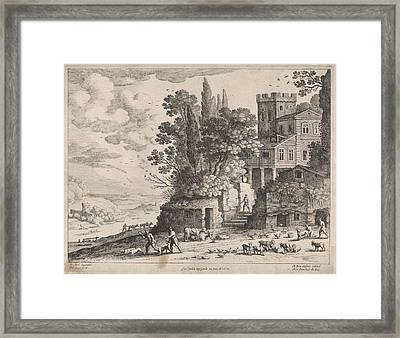 Landscape With A House, Figures And Cattle Framed Print