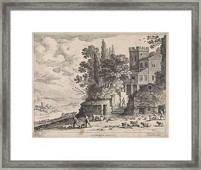 Landscape With A House, Figures And Cattle Framed Print by Willem Van Nieulandt Ii And Frans Van Den Wijngaerde And Antoine Bonenfant