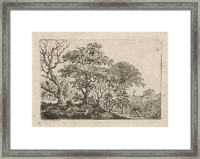 Landscape With A House With A Smoking Chimney Framed Print by Jean Vaillant