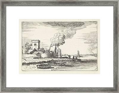 Landscape With A Lighthouse In A Port, Jan Van De Velde II Framed Print