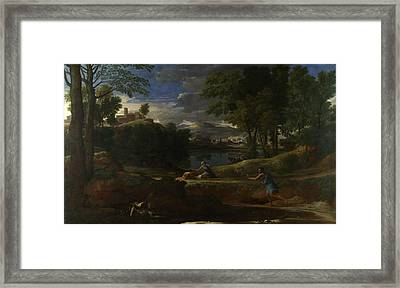 Landscape With A Man Killed By A Snake Framed Print by Nicolas Poussin