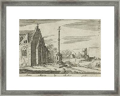 Landscape With A Memorial Column, Anna Maria De Koker Framed Print