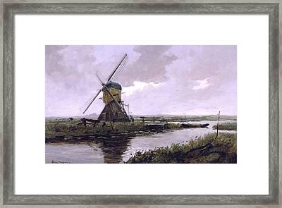 Landscape With A Mill Enhanced II Upsized Framed Print by Johan Hendrik Weissenbruch - L Brown