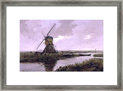 Landscape With A Mill Enhanced IIi Upsized Framed Print by Johan Hendrik Weissenbruch - L Brown