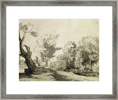 Landscape With A Path, An Almost Dead Tree On The Left And A Footbridge Leading To A Farm Framed Print by Rembrandt Harmensz van Rijn