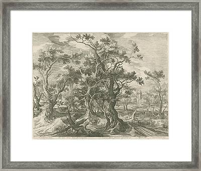 Landscape With A Prophet Torn By A Lion From Judah Framed Print by Jan Van Londerseel And Gillis Claesz. De Hondecoeter And Claes Jansz. Visscher Ii