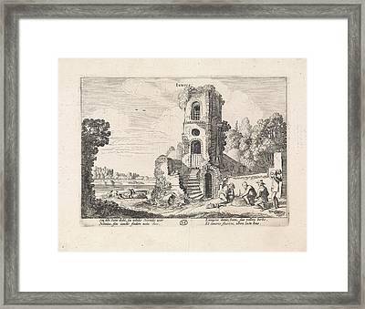 Landscape With A Ruined Tower June, Jan Van De Velde II Framed Print by Jan Van De Velde (ii)