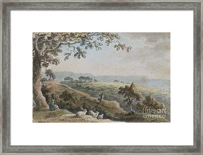 Landscape With A Shepherd And His Sheep Framed Print by Celestial Images