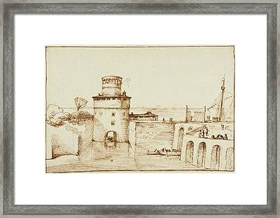 Landscape With A View Of A Fortified Port Guercino Giovanni Framed Print by Litz Collection